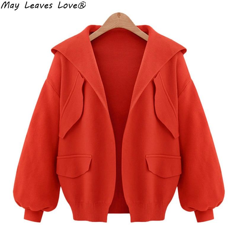 May Leaves Love Long Sleeve Hooded Cardigans Women Fashion High Street   Basic     Jacket   Female Solid Coats Plus Size M-5XL