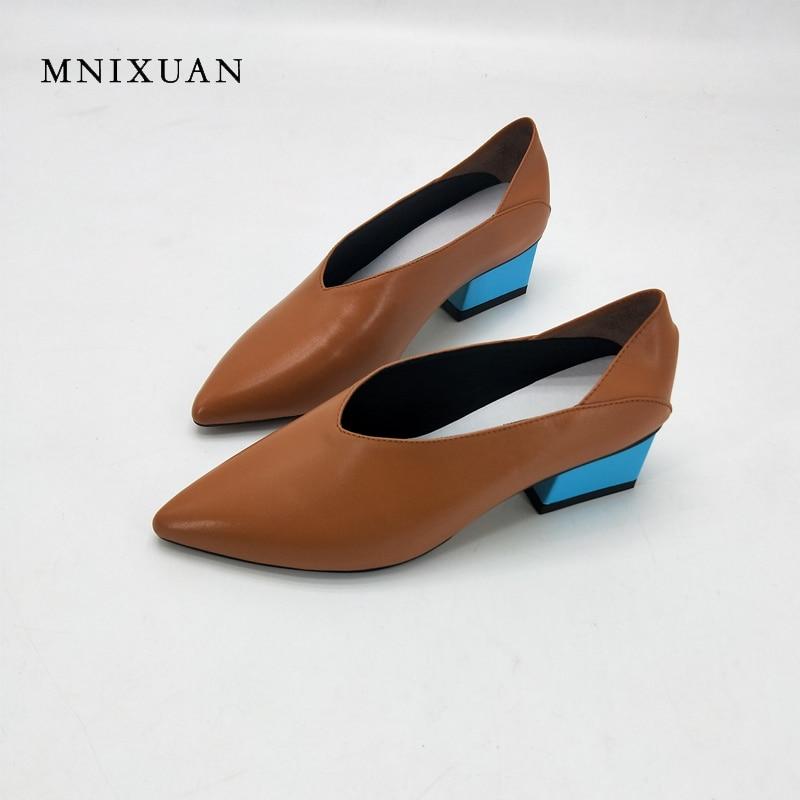MNIXUAN 2018 primavera nuevos zapatos de mujer hechos a mano bombas 3 cm de cuero genuino punta puntiaguda grueso medio tacones Oficina tamaño grande 41 42 43-in Zapatos de tacón de mujer from zapatos    1