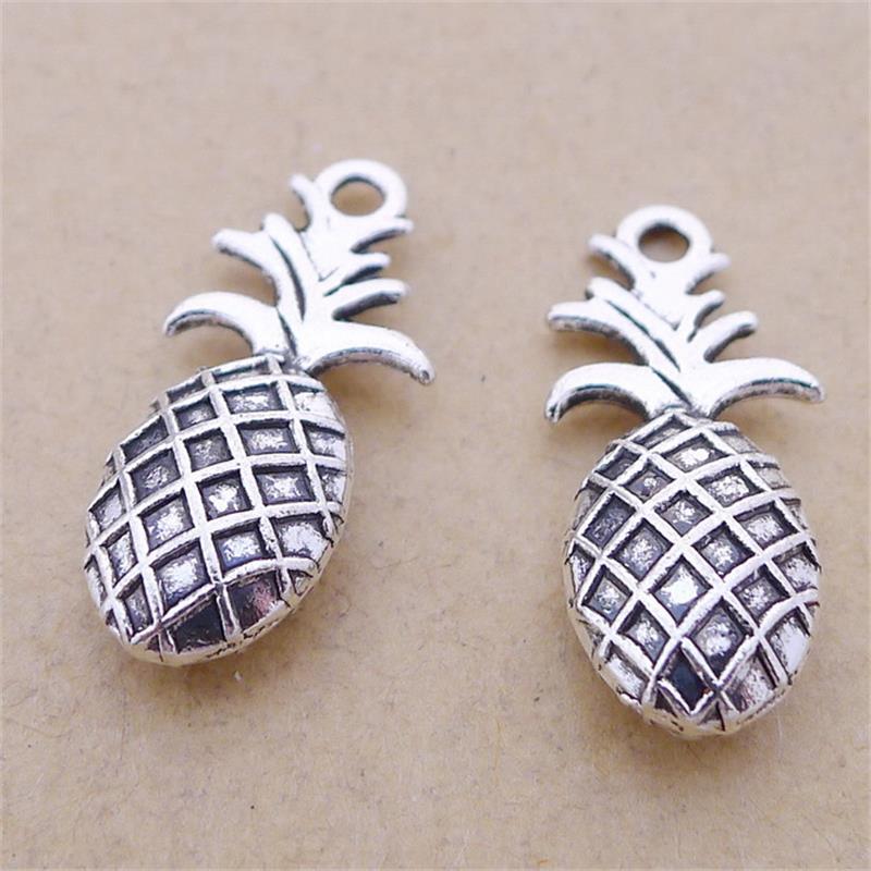 BULK 30pcs Lots Zinc Alloy Antique Silver Plated Food Pineapple Charms 3D DIY Pendants Wholesale Handmade Jewelry 10*23mm 2.1g