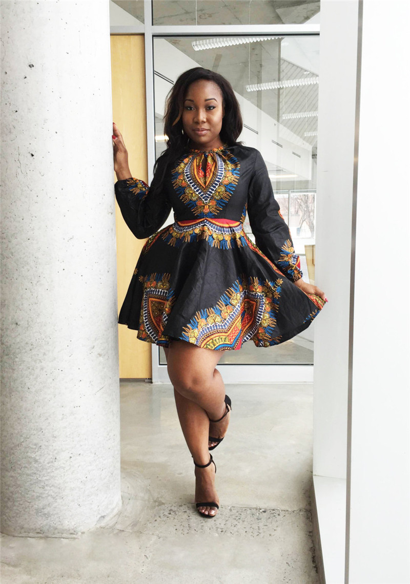spring summer traditional africa embroidery mini dress dashiki