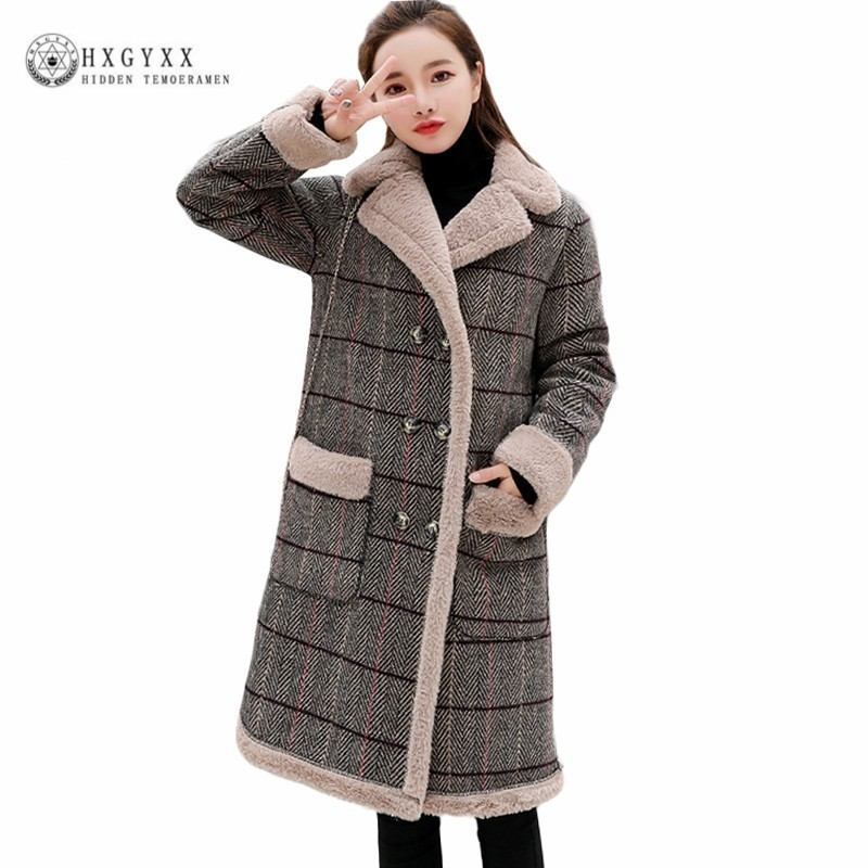 Vintage Checked Plaid Double Breasted Wool Coat Women Cashmere Overcoat 2019 Winter Long Thick Warm Slim Woolen Jacket Okd425 Harmonious Colors