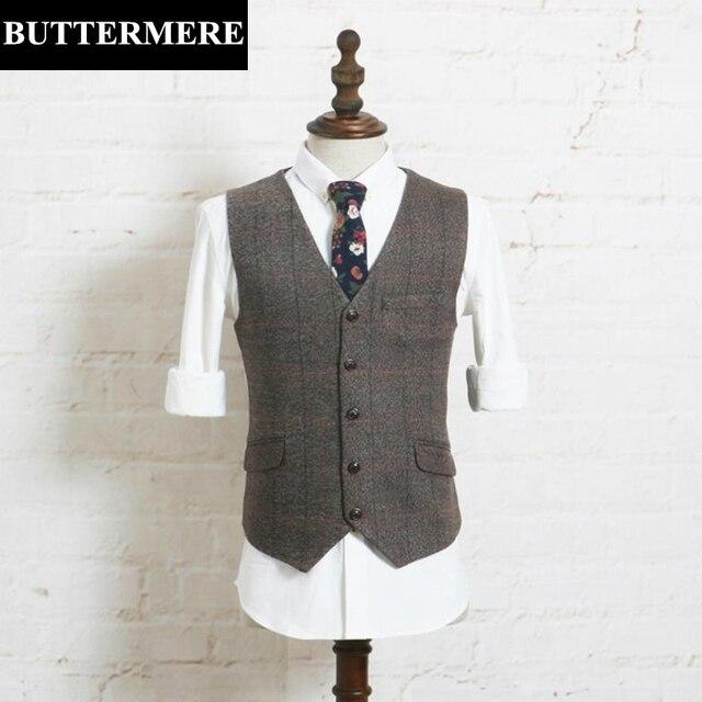 Colete colete terno dos homens da marca de luxo da marca xadrez colete roupas vintage estilo tweed de lã blazer casaco sem mangas marrom masculino