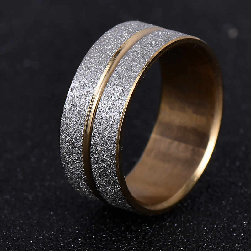 Brand Design Gold Silver Color Scrub 316L Stainless Steel Ring / Rings For Women Men Wedding Gift Never Fade nj197