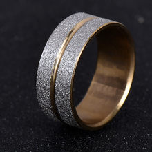 Brand Design Gold Silver Color Scrub 316L Stainless Steel Ring / Rings For Women Men Wedding Gift Never Fade nj197(China)