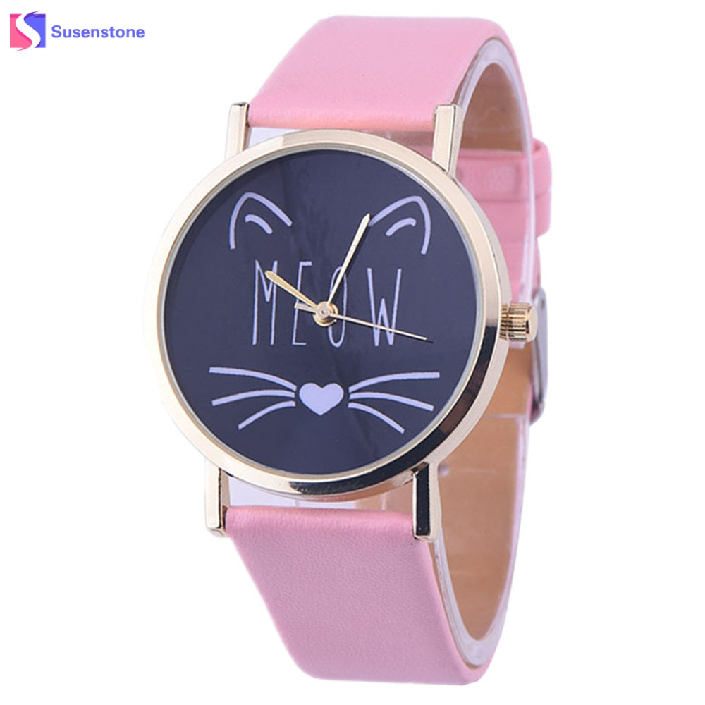 2017 Hot Sale Cheap Cat Watches Women Girls PU Leather Band Analog Quartz Watch Ladies Casual Quartz-Watch Vogue Wristwatch fabulous 2016 quicksand pattern leather band analog quartz vogue wrist watches 11 23