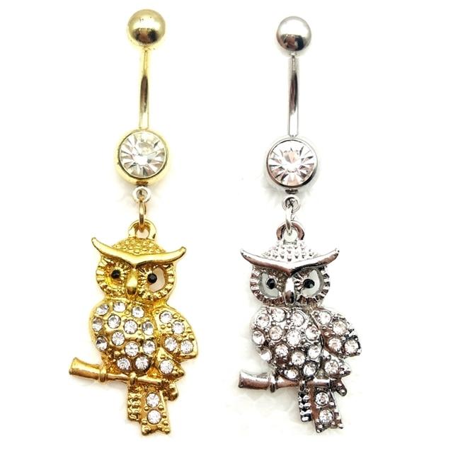 2016 new white rhinestone owl dangling pendant barbell navel stud