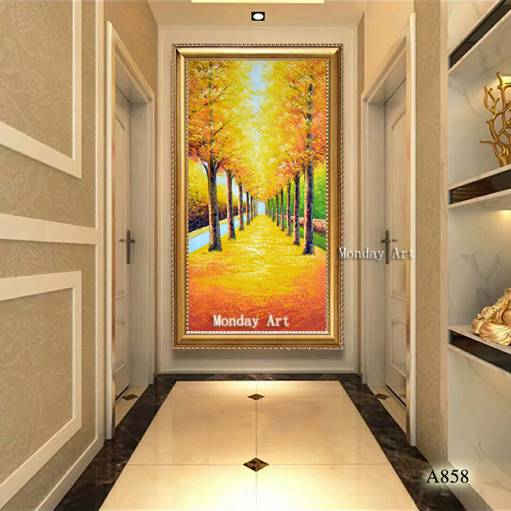 Large High Quality hand painted modern gold Tree Oil Paintings Canvas scenery picture Wall Art Landscape Picture Home Decor Gift in Painting Calligraphy from Home Garden