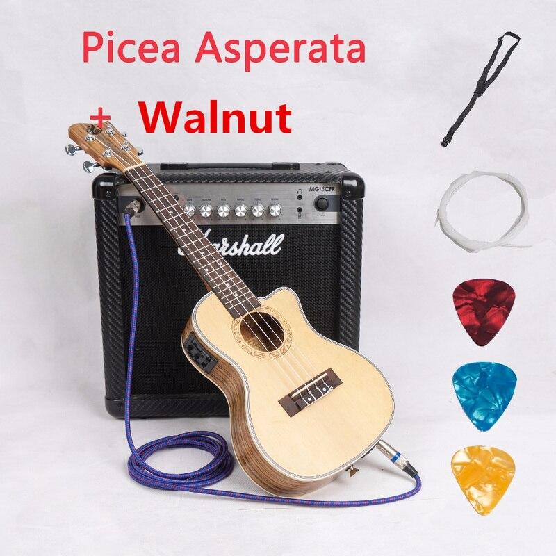 Ukulélé coupé acoustique électrique Concert ténor 23 26 pouces Mini guitare hawaïenne 4 cordes Picea Asperata noyer Ukelele Guitarra
