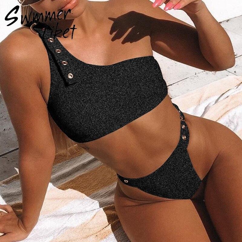 8d17d1104e3 Strappy belt sexy swimwear women 2019 High cut sheer female swimsuit Push  up bathing suit Brazil