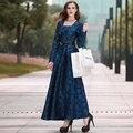 Novo e elegante fêmea azul dress manga longa maxi vestidos de festa magro flare ss5908 luxo impresso do vintage plus size roupas femininas
