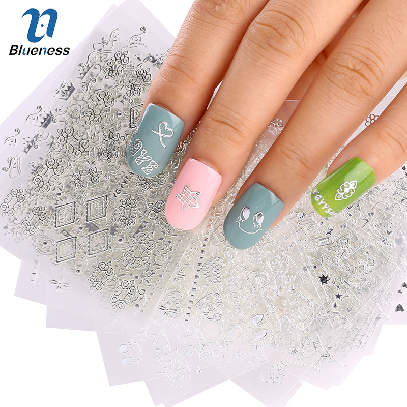 24 Pcs/Lot Silver 24 Designs Nail Stickers Beauty Glitter 3D Nail Art Bronzing Stamping Diy Decorations For Manicure Nails JH144 beauty girl 2017 wholesale excellent 48bottles 3d decal stickers nail art tip diy decoration stamping manicure nail gliter