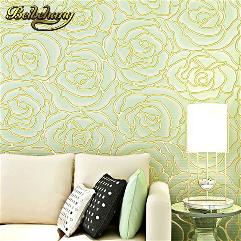 beibehang 3d Embossed Wallpaper Non-woven Floral Design Wall Covering Modern Minimalist Style Living Room Tv Background beibehang embossed non woven stereoscopic mosaic wallpaper rolls modern woven 3d flocking wall paper living room home decoration