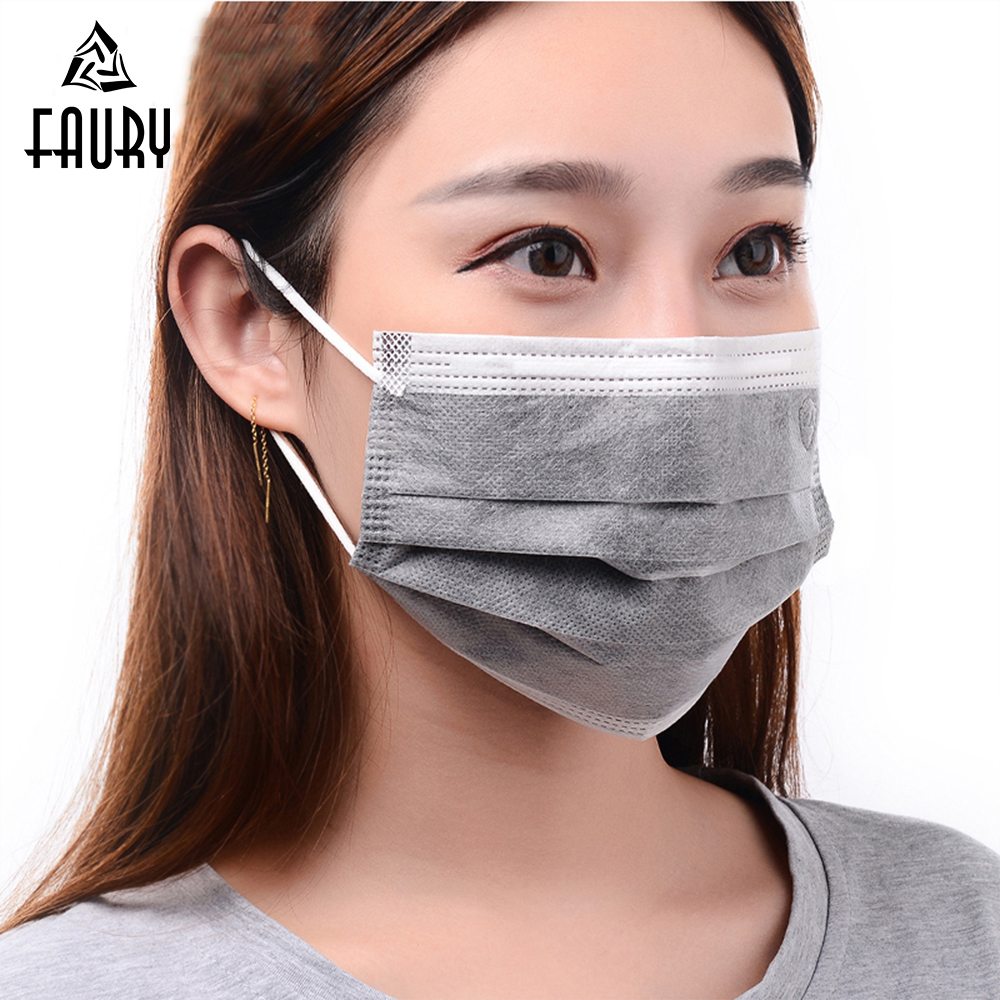 50pcs Disposable Activated Carbon Mask Dust Masks 4 Layers PM2.5 Factory Mask Medical Dental Anti Haze Mouth Mask For Men Women
