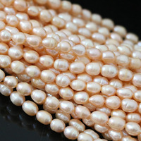 Best Sale Natural Cultured Orange Approx Rice Beads Fashion Women Weddings Party Gift Jewelry Making 15inch