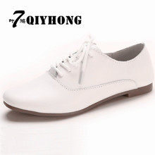 2018 Spring Women Oxford Shoes Ballerina Flats Genuine Leather Moccasins Lace Up Loafers White 821