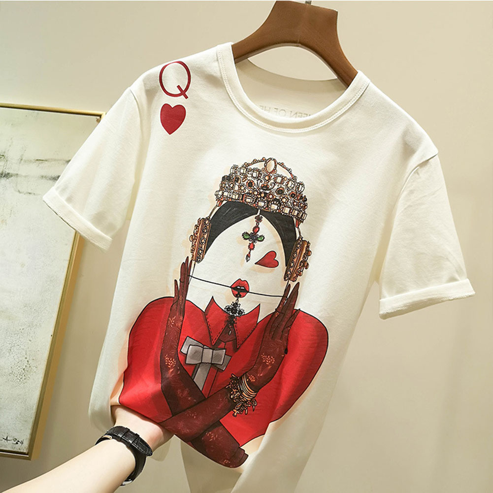 Playing Cards T Shirt Women New Casual Short Sleeve Summer Tees O neck Tops Print White Color T shirt Loose Fashion New Style in T Shirts from Women 39 s Clothing