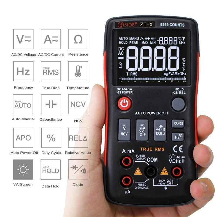 Bside ZT-X真の実効値デジタルマルチメータ 3 ライントリプルディスプレイ 9999 は、ac/dc電圧温度容量テスターdmm