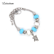 SANYU 2018 New Trendy Fit Pandora Chain Bracelet Copper Lobster Buckle Glaze Beads Small Animal Accessories BR-1546