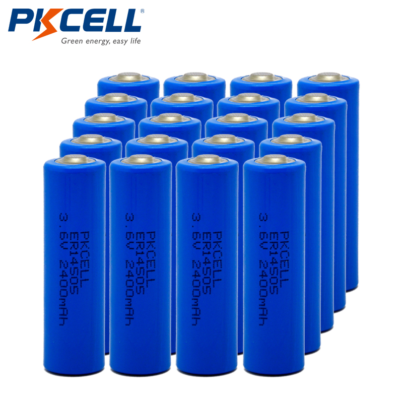 20Pcs/LOT PKCELL LiSOCl2 ER14505 LS14505 AA 3.6V 2400mAh Lithium Battery Batteries For Medical Devices
