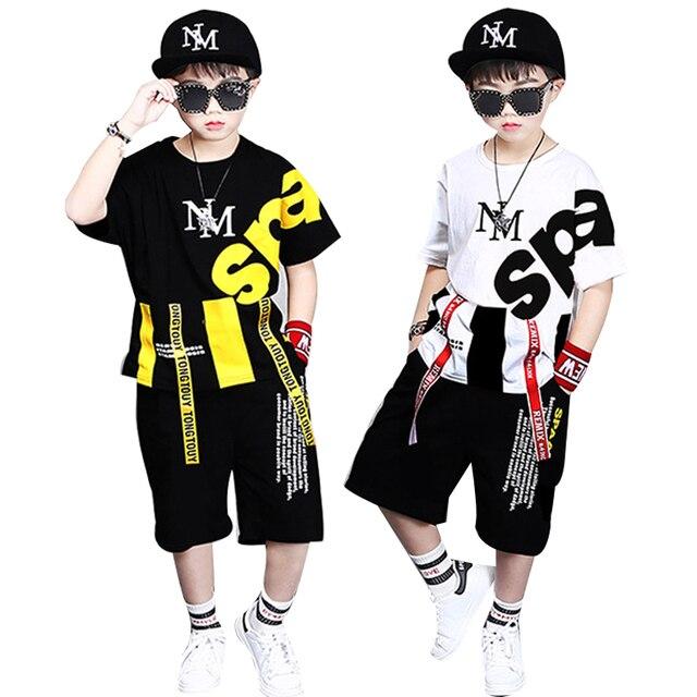 ילדי אימוניות 4 12Y בני בגדי Enfant tshirt + הרמון מכנסיים אופנה ילד בגדי ילדים מגניבים היפ הופ בגדי ספורט חליפה