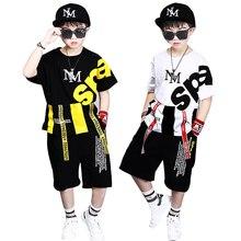 Trẻ em thể thao mùa 4 12Y Chàng Trai Quần Áo Enfant áo thun + quần harem Thời Trang Cậu Bé Quần Áo Trẻ Em Mát Mẻ Hip Hop Quần Áo Thể Thao Phù Hợp Với