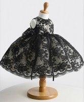Clásico Negro Niñas Vestidos Con Cristales Sin Mangas del vestido de Bola Del O-cuello Primeras Chicas Vestido de Comunión Vestido Del Desfile de Las Muchachas