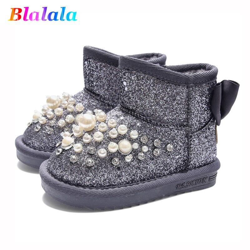 Hiver bébé filles bottes de neige garçons raquettes enfants mode bottes enfants bottines chaudes en peluche perle rivet paillettes 1 à 10 ans