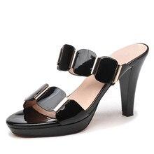купить 2019 New Fashion Women Mules Slippers Open Toe High Heel Flip Flops Slides Ladies Summer Shoes Big Size 34-40 YG-A0332 по цене 2589.03 рублей