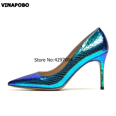 New Arrival Sexy Snake Skin Shallow Women s Party Shoes green Colors PU Leather Pointed Toe