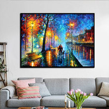 Canvas Painting Abstract Night View Lovers Paints Poster Trees Houses Pictures Living Bed Room Wall Art Home Decor Frameless(China)