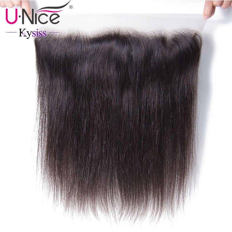 "UNice Hair 8A Kysiss Virgin Series Straight Brazilian Hair Lace Frontal 13""x4""Free Part Lace Closure 1 Piece 100% Human Hair"