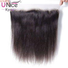 "UNice Hair 8A Kysiss Virgin Series Straight Brazilian Hair Lace Frontal 13""x4""Free Part Lace Closure 1 Piece 100% Human Hair(China)"