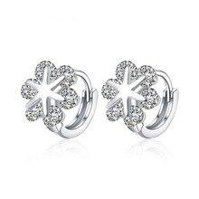 Fashion Women 925 Silver Cute Snowflakes Zircon Hoop Earrings For Baby Kids Child Girl Loop Huggie Earring Gift Jewelry E155 snowflakes on silver cove