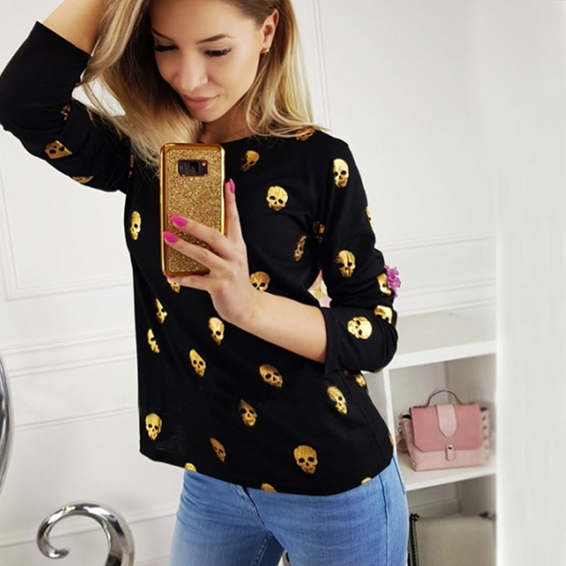 T Shirt Women Streetwear Autumn Skull Bronzing Print Tops Fashion Casual Long Sleeve Round Neck Slim Tee Shirt Femme Clothes (1)