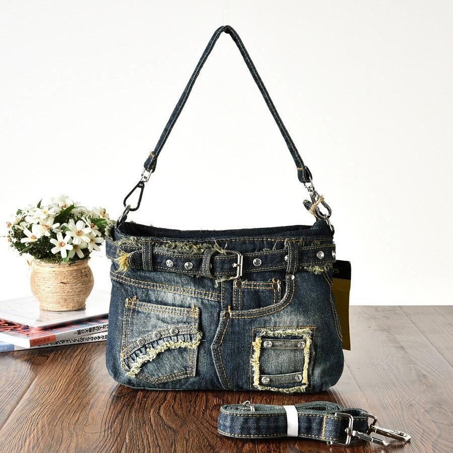 KISS KAREN Diamond Studs Denim Bag Bag Կանանց - Պայուսակներ - Լուսանկար 3