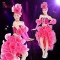 Moda Femenina Aumentó Moderno Traje de la Danza de Paillette Rendimiento Etapa Desgaste Adulto Vestido de Una sola Pieza Dj Cantante Mostrar Ropa
