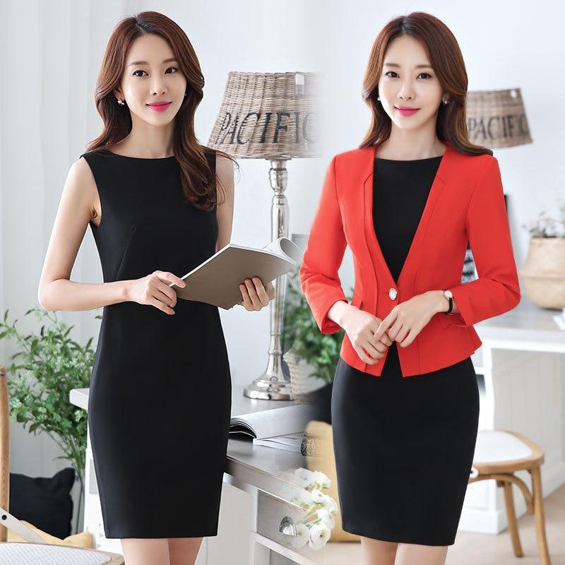 Fmasuth Women Suits Office Sets Dress 2 Pieces Set Full Sleeve Blazer+sleeveless Dress Ladies Business Suit Ow0429-1 Dress Suits Suits & Sets
