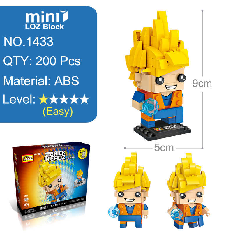 LOZ Brinquedo Dragon Ball Super Saiyan Goku Action Figure Dragonball Z Cabeça Tijolo Blocos De Construção De Mini 200pcs Para crianças Com Idades Entre 6 +