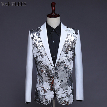 Stylish White One Button Sequin Suit Blazer Men Wedding Groom Singer Prom Glitter Suit Jacket Male DJ Club Stage Blazers Hombre