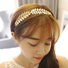 Elegant pearl leaf headband for women metal hair clips golden engagement wedding bridal tiara barrette fashion accessories