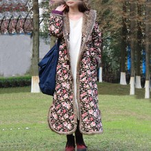 Autumn Winter Jacket Floral Chinese Style Cotton Padded Trench Coat Hooded Women Jacket Quilted Long Windbreaker