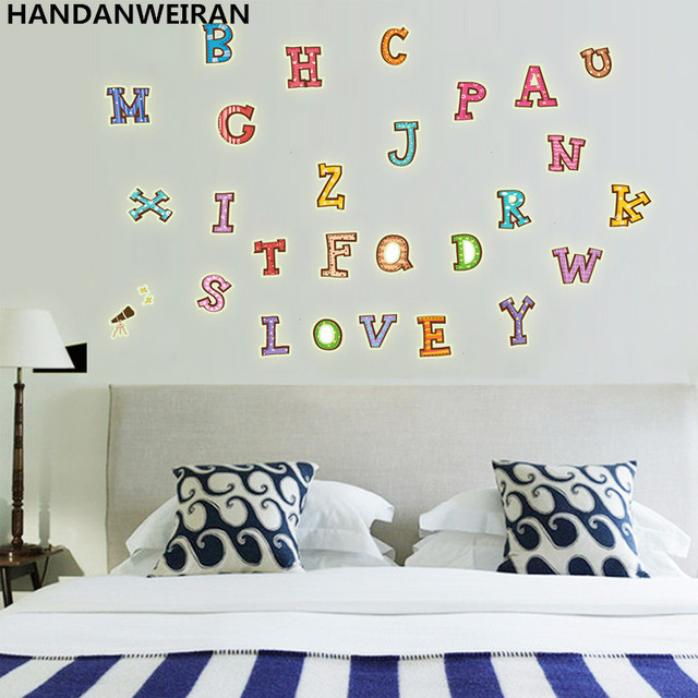 24piece / Lots Color Letters Kids Baby Room DIY Wall Sticker Colored  Alphabet Letter Glow In