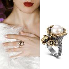 Кольцо в форме большого цветка с жемчугом оливином женское кольцо
