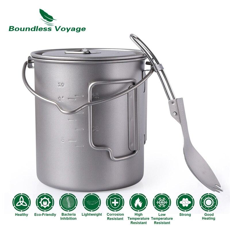 лучшая цена Boundless Voyage Outdoor Titanium Cup Mug Pot Spork Set with Lid Folding Handle Camping Hiking Picnic Ultralight Tableware 750ml