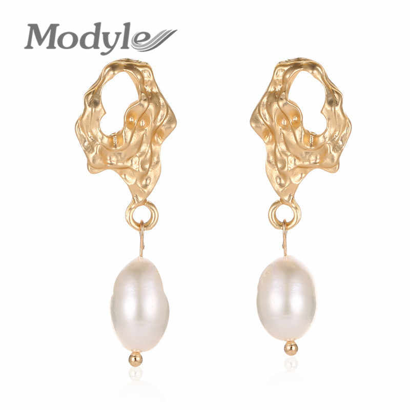 Modyle Gold Irregular Freshwater Earrings With Pearl Vintage Long Geometric Statement Baroque Dangle Earring Drops Jewelry