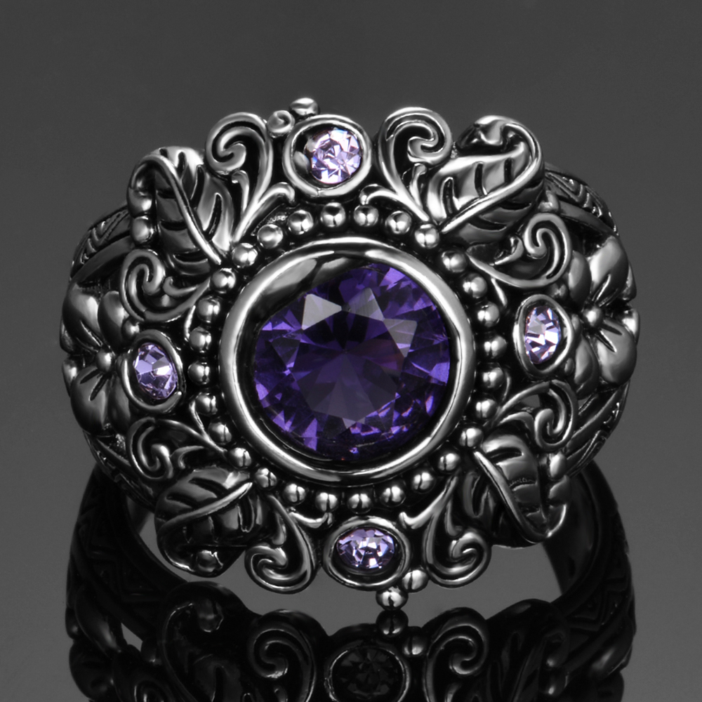 HTB1WG9zaJfvK1RjSspoq6zfNpXaf Natural Purple Amethyst Rings Women's Solid 925 Sterling Silver Fine Jewelry Anniversary Party Gift For Grandmother Wholesale