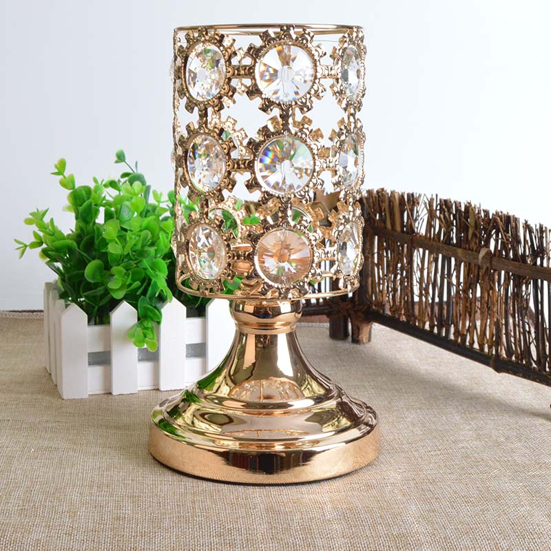 Aaa Crystal Candlestick For Wedding Bar Party Home Decor Aocai Brand Gold Plated Hollow Crystal Pillar Candle Holder