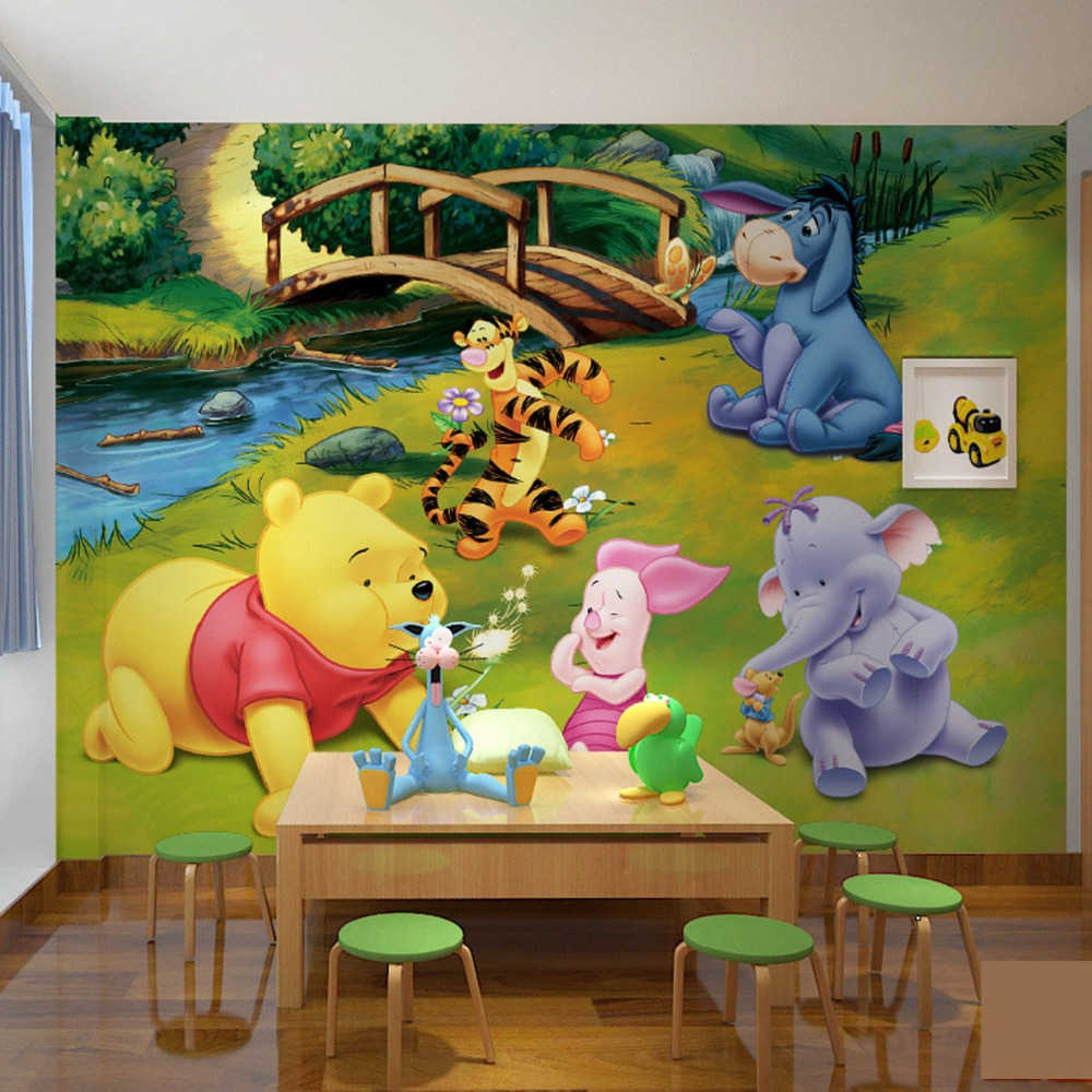 Popular pooh wall paper buy cheap pooh wall paper lots for Baby pooh and friends wall mural