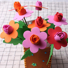 UainCube 1 Bag/lote Craft Toys Flowers for Children/Kids EVA Simulated Flowerpot Handmade kindergarten DIY Puzzle Toy Funny Gift
