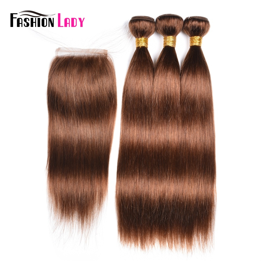 Fashion Lady Pre-Colored Brazilian Human Hair Weave 3 Bundles With Closure 4# Brown Bundles With Closure Hair Extension Non-Remy